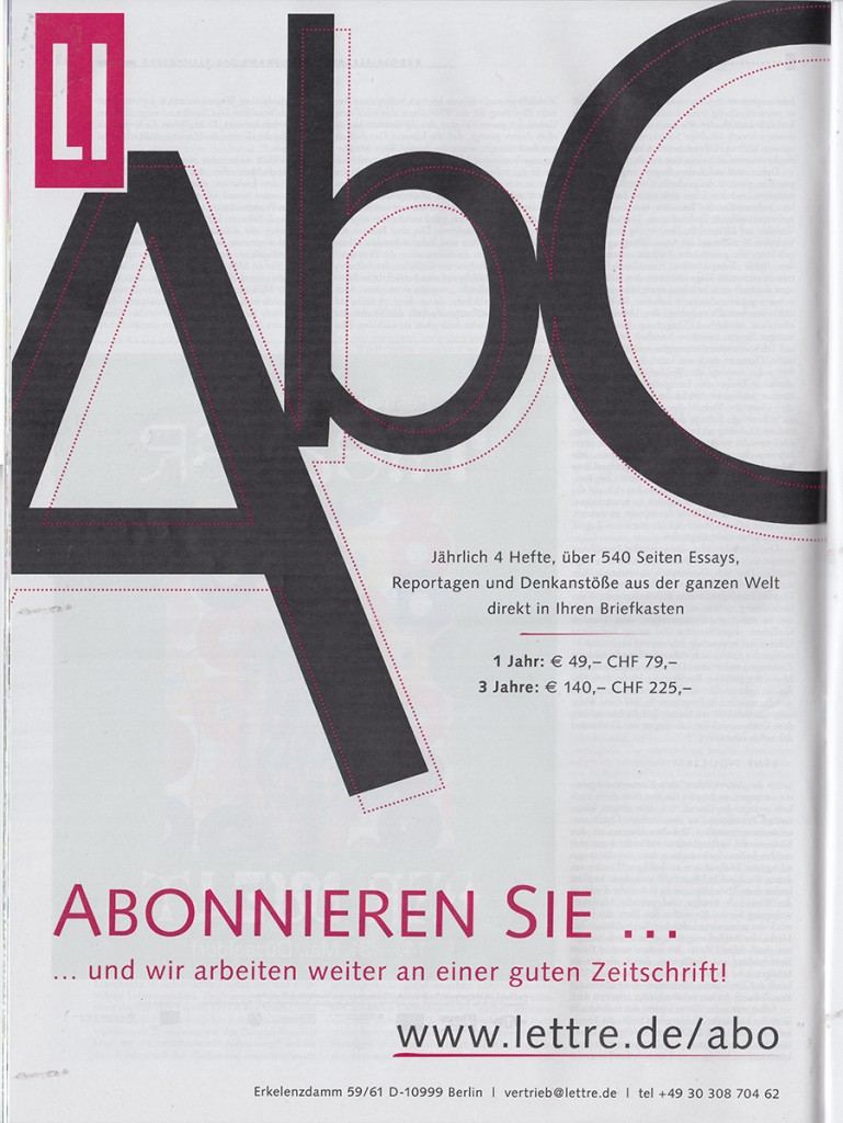 Lettre International, Anzeigen, Advertisements, Berlin